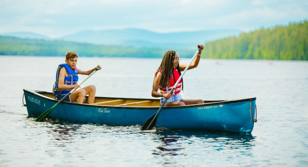 Two campers canoeing