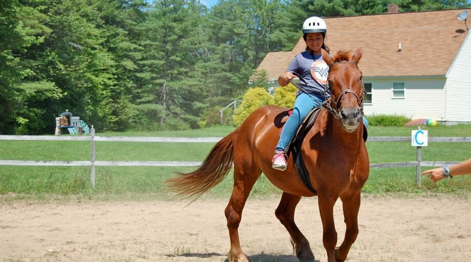 Camper riding a brown horse