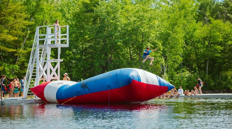 Camper being launched off the blob