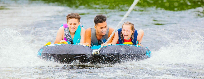 Kids watertubing