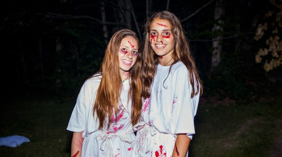 Girls dressed as zombies for a special event