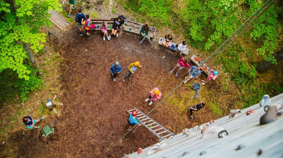 Aerial of the climbing tower with campers below