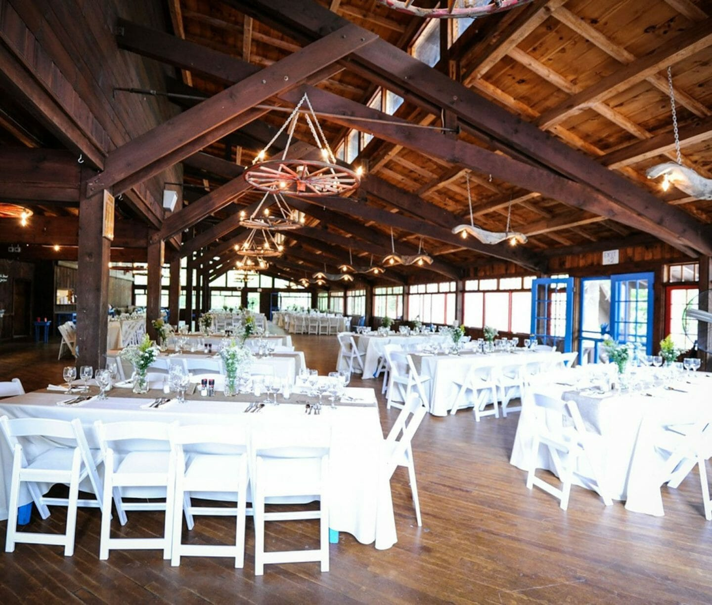 Dining hall decorated for a wedding