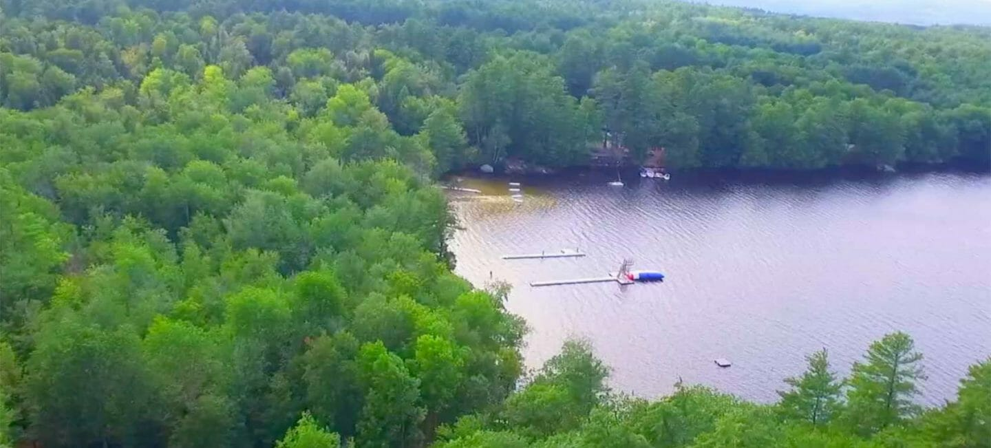 Aerial photo of Camp Wazi lakefront in Maine